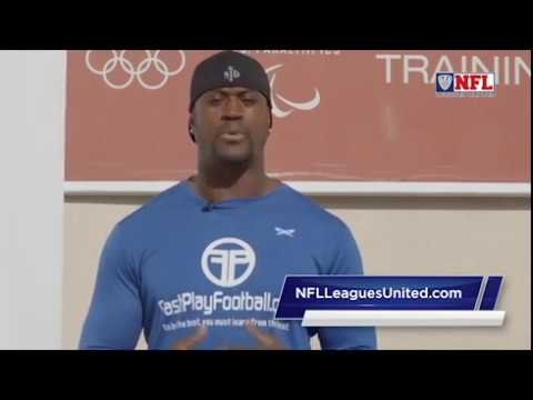 Former San Diego Charger Kassim Osgood talks flag football at the Chula Vista Olympic Center 2017